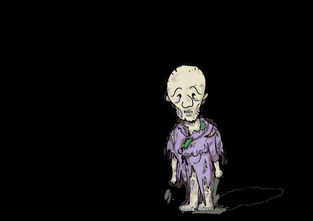 ボロボロの服を着てたっている老人